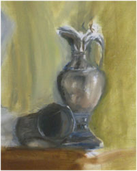 Drop-in oilpaint lesson, second session study in oil paints. Still life with vase.