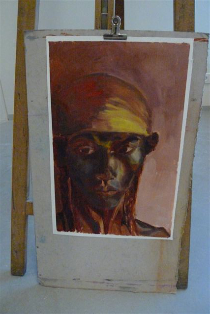 Portraiture in two sessions. Underpainting in green and white.