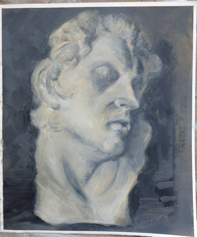 Oilpainting study in gray values of a cast (Barberini Faun) || Olieverfstudie van een gipsen beeld in grijs tonen (Barberini Faun)