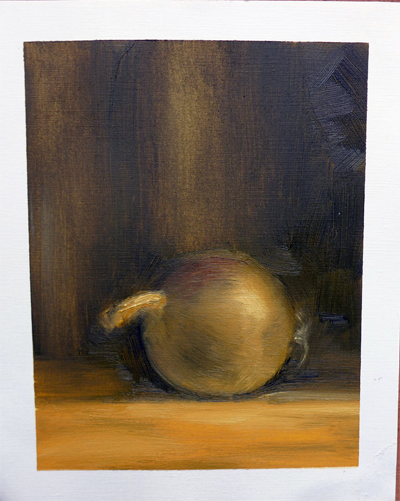 Oilpainting study of a still life with an onion || Olieverfstudie naar een stilleven met ui