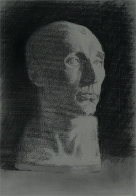 Peter Eurlings,Cast study in sight size technique, charcoal,42cmx30cm, 2008